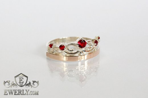 Ring of  silver with stones for women to buy 0009UR