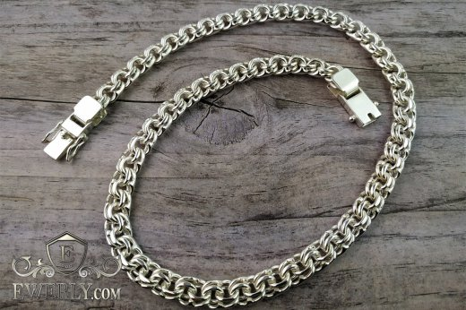 "Big chain ""Bismarck"" of  silver for men to buy 111003WN"