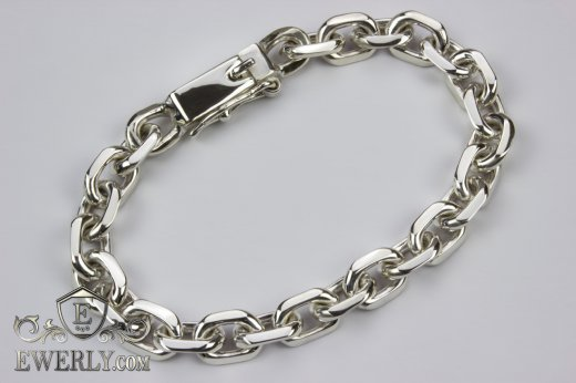 "Big bracelet ""Anchor with edges"" of sterling silver for men to buy 121006TMI"