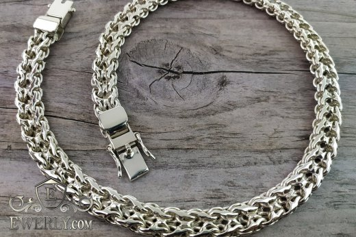 "Thick chain ""Double stream (seagull)"" of sterling silver for men to buy 111005VD"