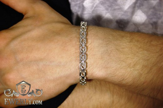 "Thick bracelet ""Square"" of sterling silver for men to buy 121013HO"