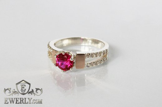 Ring of  silver with stones for women to buy 0010BD