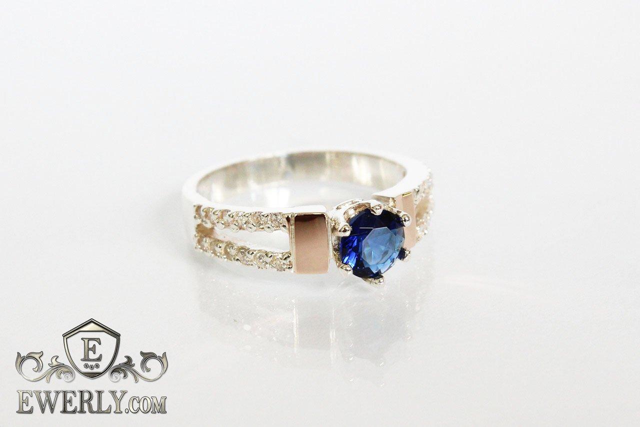 d6f0e43c2961 Женское кольцо из серебра с синим камнем