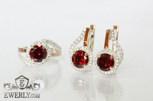 Kit : earring of sterling silvers and ring of sterling silver to buy 0012QS
