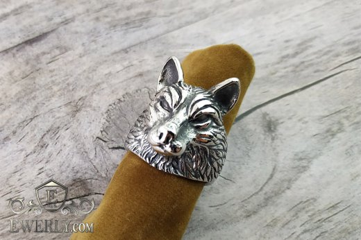 Men's ring of  silver with a wolf to buy 141006HP