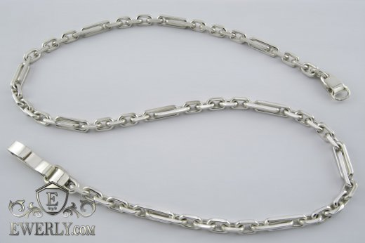 "Big men's chain ""Elongated anchor"" of sterling silver to buy 111004HL"