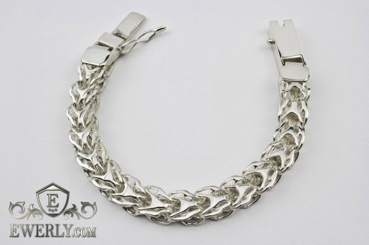 "Thick men's bracelet ""Alligator"" of  silver to buy 121016WD"
