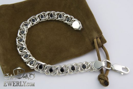 "Bracelet ""Arabic bismarck with stones"" of sterling silver for women to buy 121037CX"