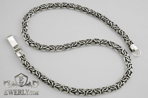 "Big chain ""Fox tail (Valkyrie)"" of sterling silver for men to buy 111008WB"