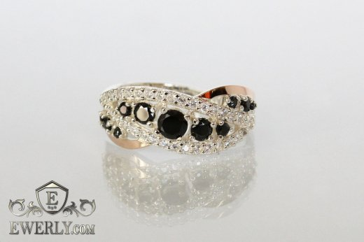 Women's ring of sterling silver with stones to buy 0020JY