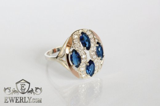 Ring of  silver with stones for women to buy 0028VP