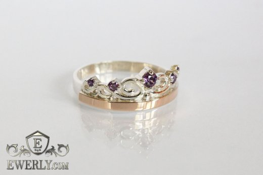 Women's ring of sterling silver with stones to buy 0009JA