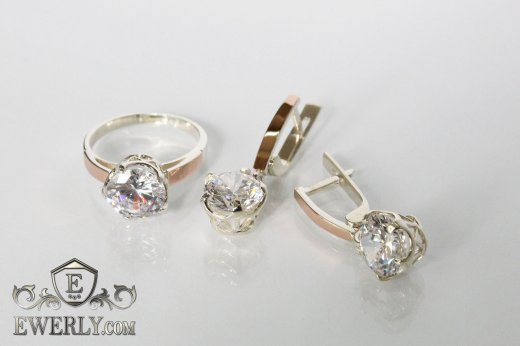 Set : earring of  silvers and ring of  silver to buy 0033SL