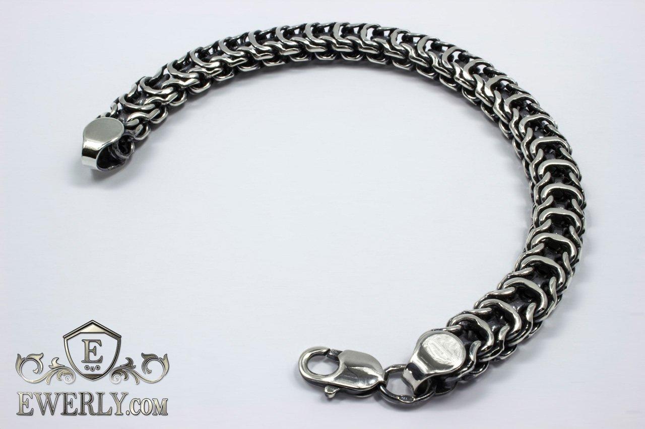 24b904845b50 Серебряный браслет «Рамзес» с чернением. Купить серебряный браслет мужской  ...