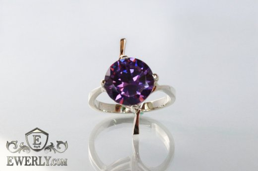 Women's ring of sterling silver with stones to buy 0030GZ