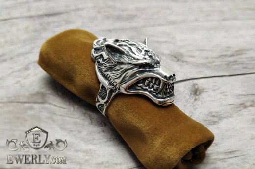 Ring of sterling silver with a wolf for men to buy 141001AN