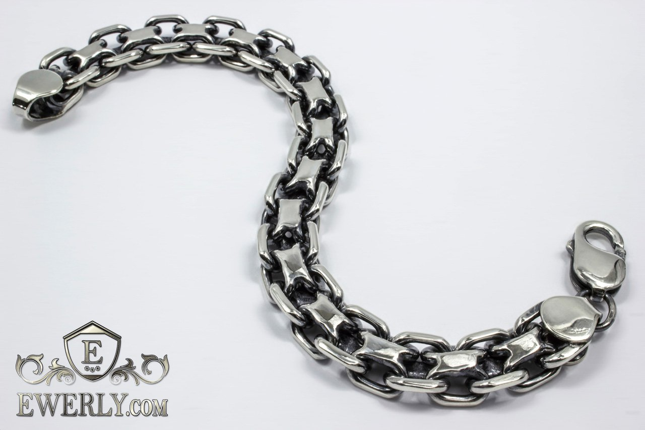 Браслеты из серебра якорное плетение мужские